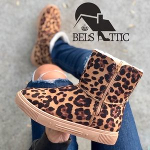 Vegan Suede Leopard Animal Print Cozy Boots